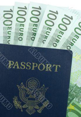 U.S. Passport and One Hundred Euro Bills