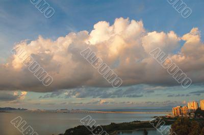 Cloudscape of friendship bridge, Macau