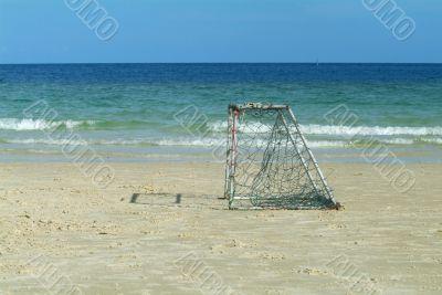 Empty goal on the beach