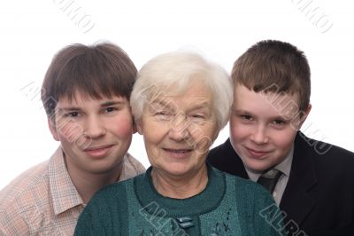 Grandmother with two grandsons