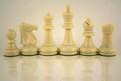 White Chess pieces reflection