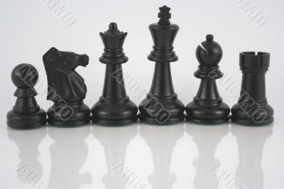 Black Chess pieces reflection