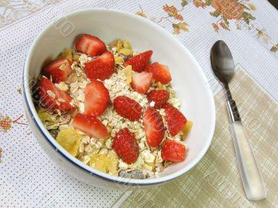 Granola and strawberries