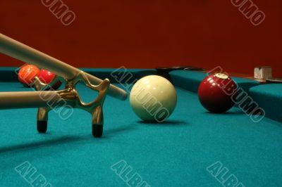 Billiard Balls with cue stick and bridge