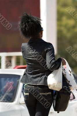 African woman shopping