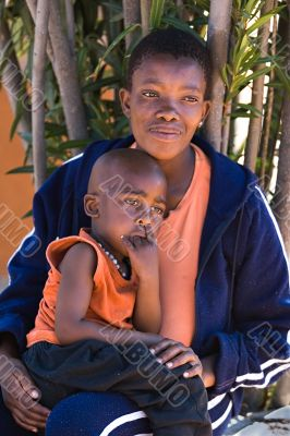 African child and mother