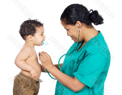 Lady doctor with a baby