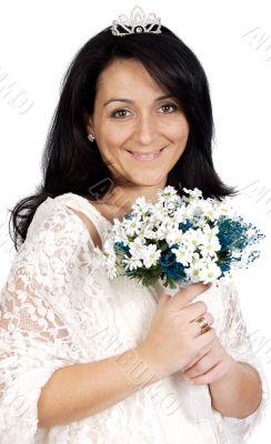 Attractive bride wearing white dress