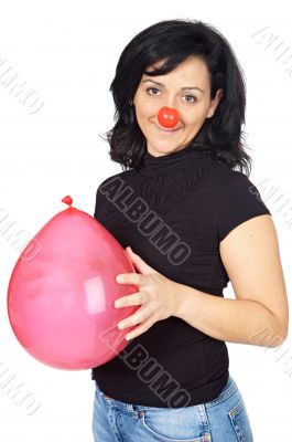 attractive lady whit clown nose and a globe