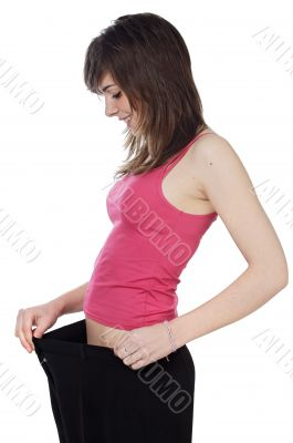 girl after becoming thin by a diet