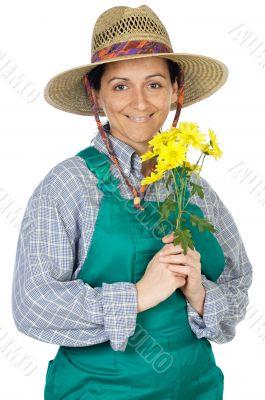 attractive happy woman dressed gardener
