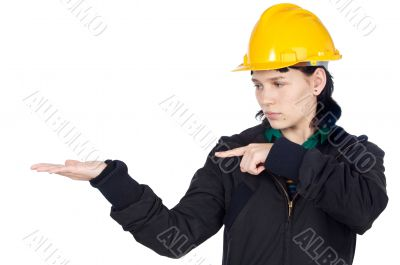 Engineer indicating a hand empty