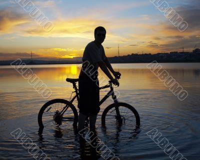 biker on the sunset