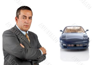 Serious CEO and the modern car