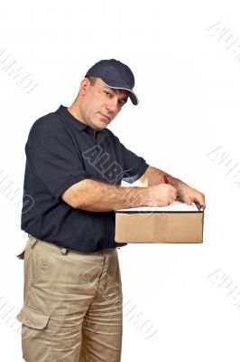 Courier holding the box and writing