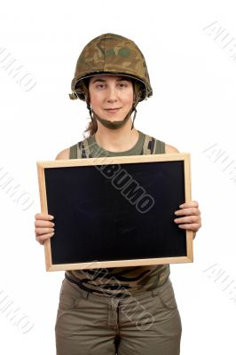 Holding the chalkboard