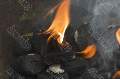 flames on coal