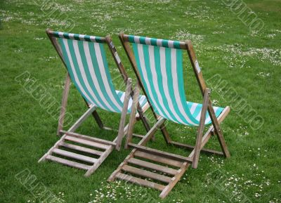 Deck chairs from rear