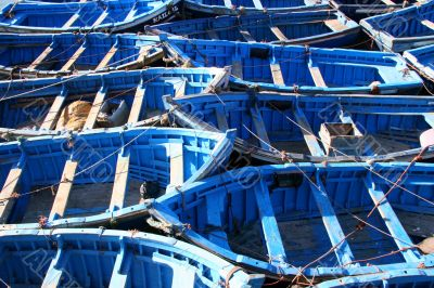 blue fishing boats at essaouira, morocco