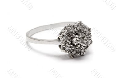 Diamond Blossom Silver Ring