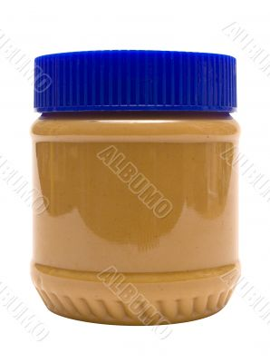 Closed Glass of Peanut Butter w/ Path - Side View