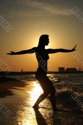 Sunset Tai-Chi on a beach