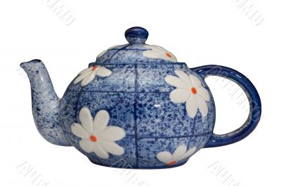 blue teapot over white background