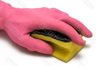 Pink Glove w/ Cleaning Sponge