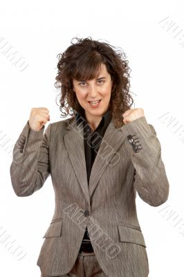 Excited businesswoman gesture