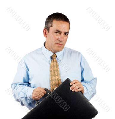 Businessman holding a black business briefcase