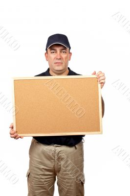 Courier holding the empty corkboard