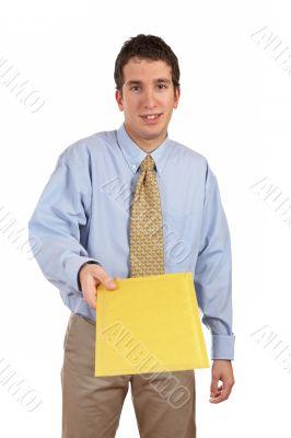 Businessman handing a envelope