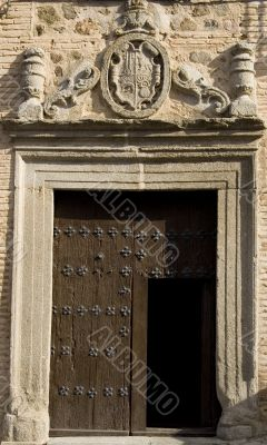 Medieval door with carving