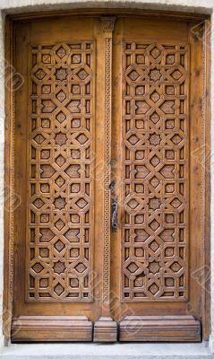 Medieval carved door