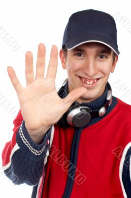 Disc jockey saying stop