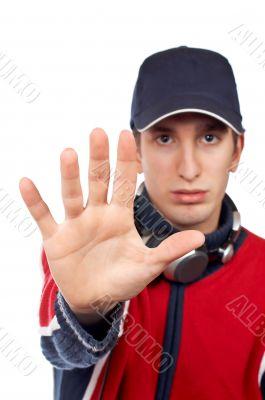 Serious disc jockey saying stop