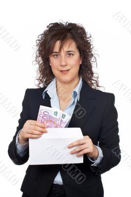 Put euros bills on the envelope