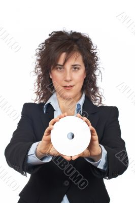 Business woman holding a dvd disc