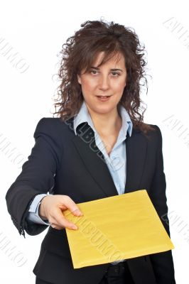 Handing a envelope