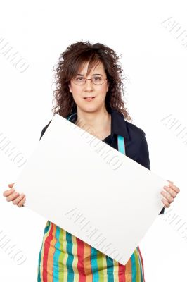 Housewife in apron holding the blank poster