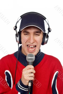 Disc jockey singing