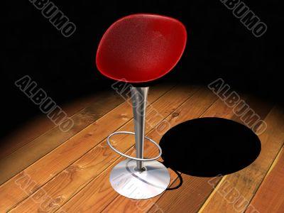 Red metal bar stool