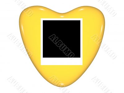 Gold valentine heart with photo space