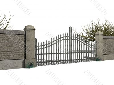 Gate with bushes