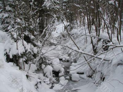 A snowy winter creek