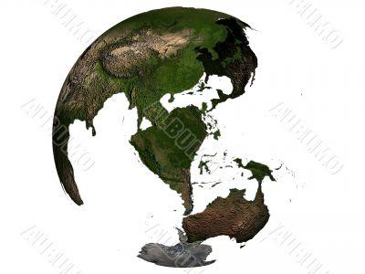 Australia on an earth globe