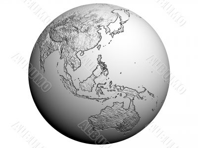 Australia on an earth globe