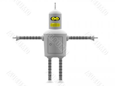 Robot with yellow eyes and yellow mouth
