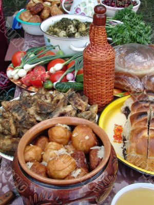 Traditional Ukrainian festive dinner meals