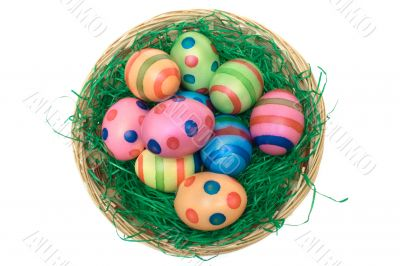 Basket with Colored Eggs - Top View